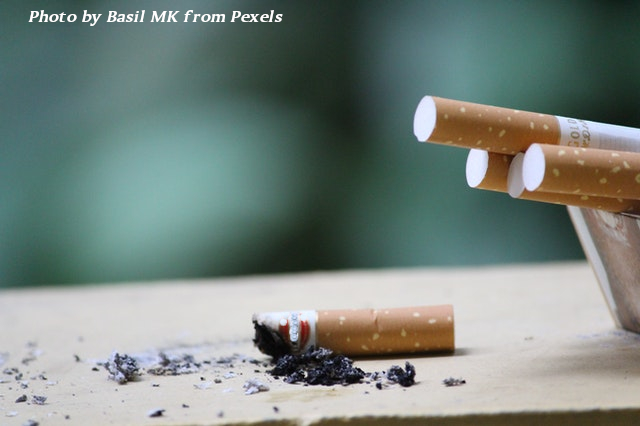 cigarette butt on table