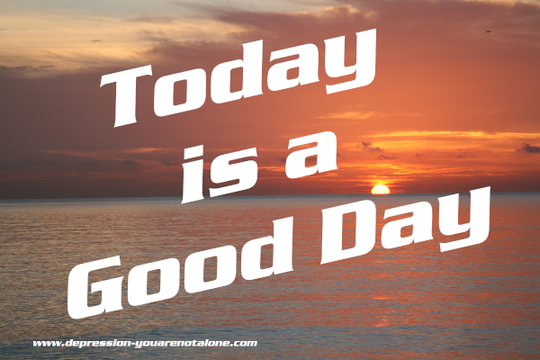 the words today is a good day over an ocean sunrise (copyrighted)