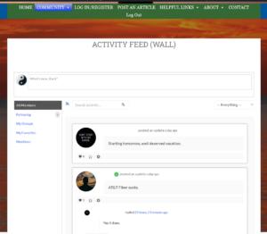 screenshot of activity feed