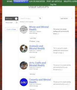 screenshot of groups