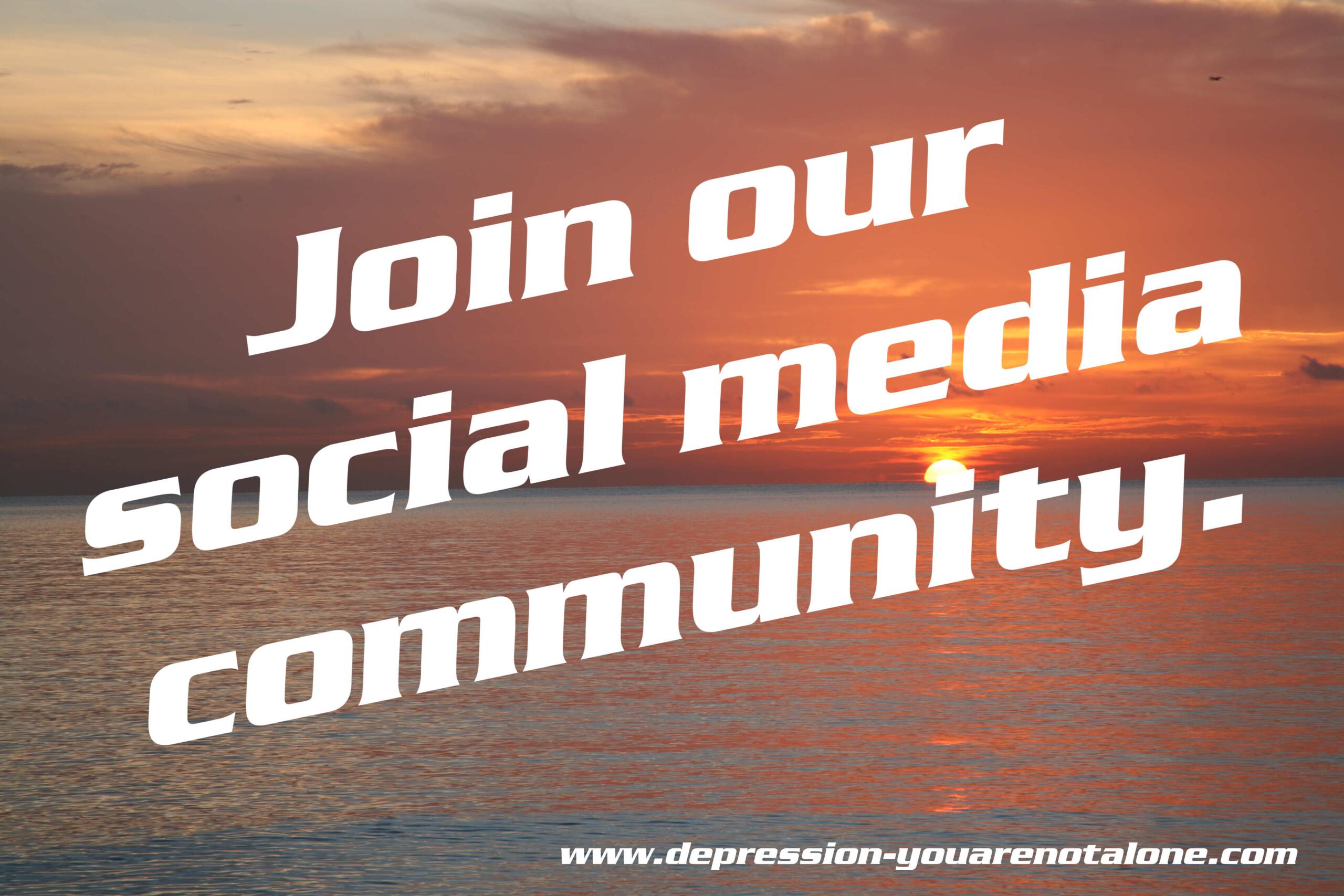 the words join our social media community over ocean sunrise