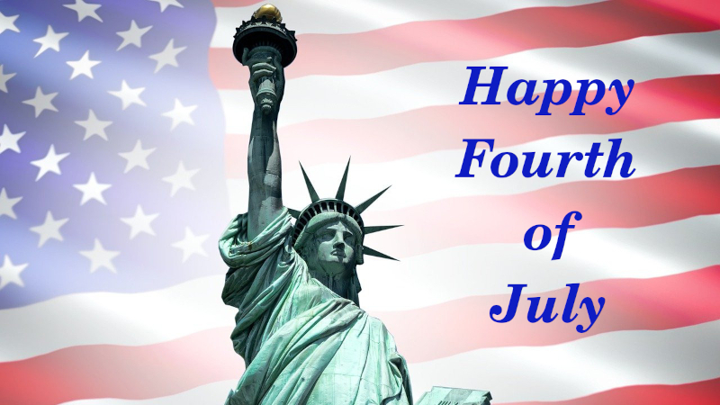american flag with statue of liberty and the words happy fourth of july