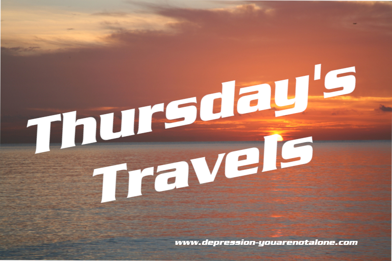 the words thursday's travels over ocean sunrise (copyrighted)
