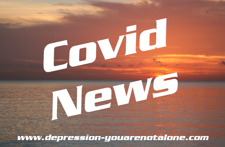 the words covid news over ocean sunrise with website url at bottom