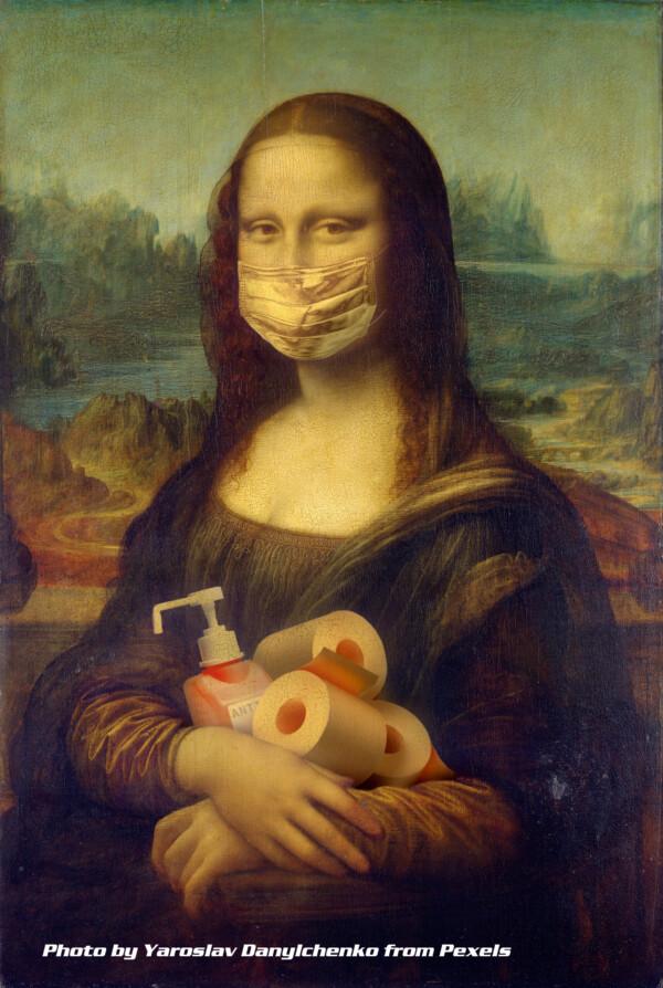 Mona Lisa wearing mask